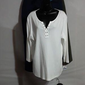 Karen Scott Long Sleeve Top 100% Cotton